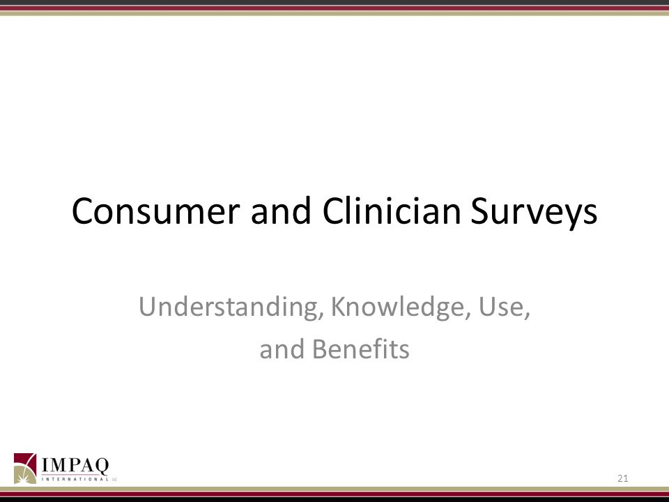 Consumer and Clinician Surveys Understanding, Knowledge, Use, and Benefits 21