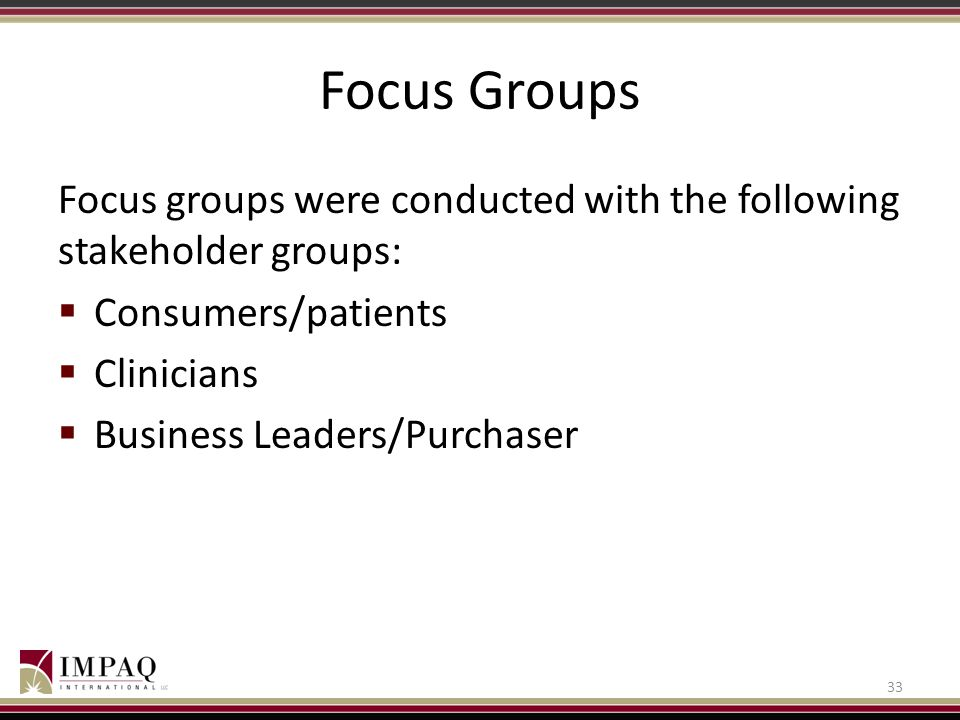 Focus Groups Focus groups were conducted with the following stakeholder groups:  Consumers/patients  Clinicians  Business Leaders/Purchaser 33