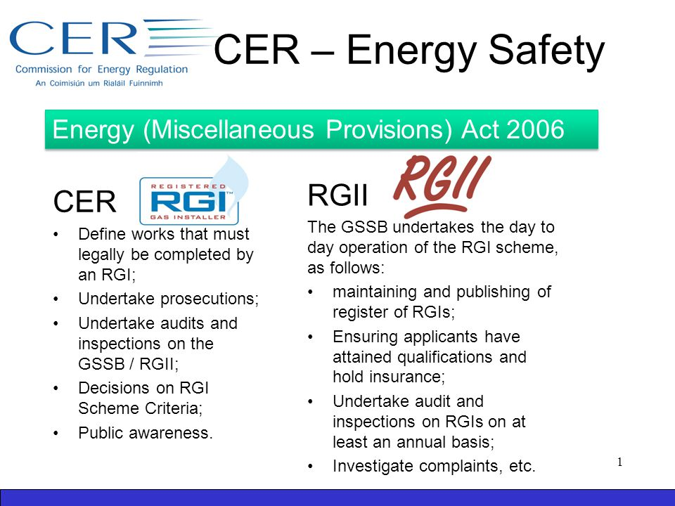 CER – Energy Safety CER Define works that must legally be completed by an RGI; Undertake prosecutions; Undertake audits and inspections on the GSSB / RGII; Decisions on RGI Scheme Criteria; Public awareness.