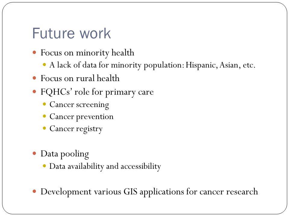Future work Focus on minority health A lack of data for minority population: Hispanic, Asian, etc.