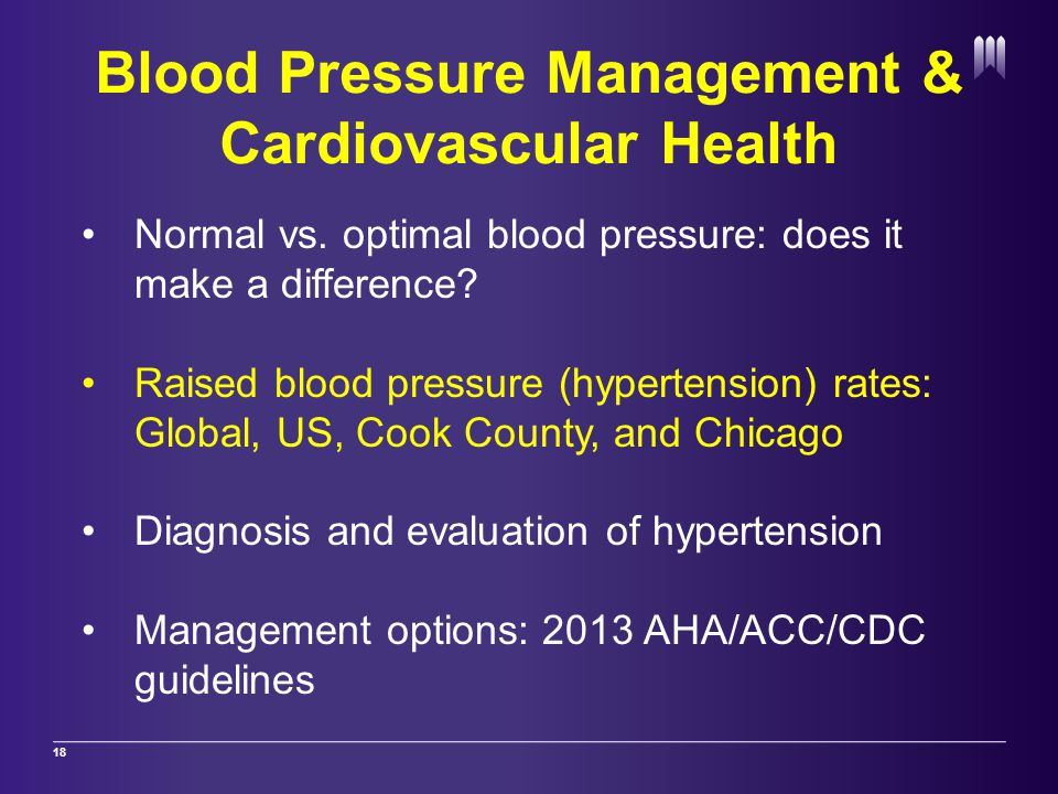 Blood Pressure Management & Cardiovascular Health 18 Normal vs.