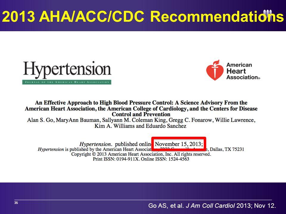 2013 AHA/ACC/CDC Recommendations 35 Go AS, et al. J Am Coll Cardiol 2013; Nov 12.