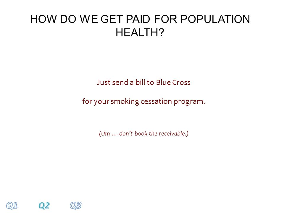 Just send a bill to Blue Cross for your smoking cessation program.