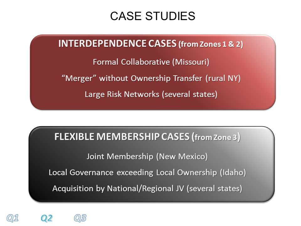 INTERDEPENDENCE CASES (from Zones 1 & 2) FLEXIBLE MEMBERSHIP CASES ( from Zone 3 ) Joint Membership (New Mexico) Local Governance exceeding Local Ownership (Idaho) Acquisition by National/Regional JV (several states) CASE STUDIES Formal Collaborative (Missouri) Merger without Ownership Transfer (rural NY) Large Risk Networks (several states)