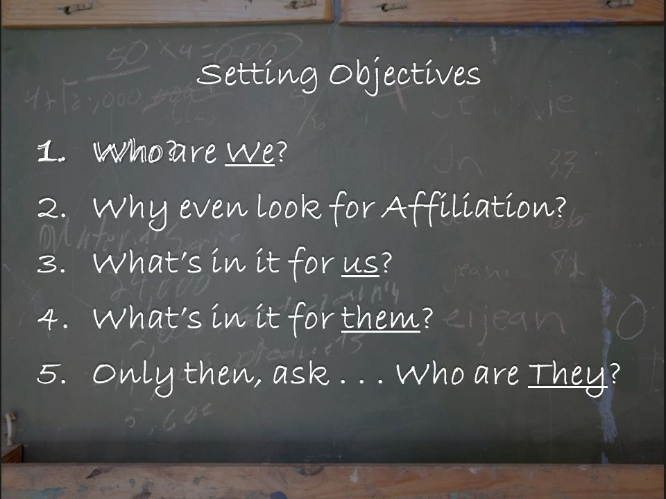 Setting Objectives 1.Who are We. 2.Why even look for Affiliation.
