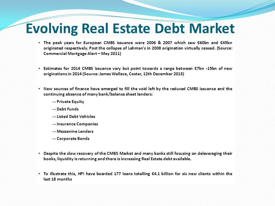 Evolving Real Estate Debt Market  The peak years for European CMBS issuance were 2006 & 2007 which saw €60bn and €45bn originated respectively.