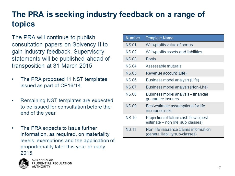 7 The PRA will continue to publish consultation papers on Solvency II to gain industry feedback. Supervisory statements will be published ahead of tra