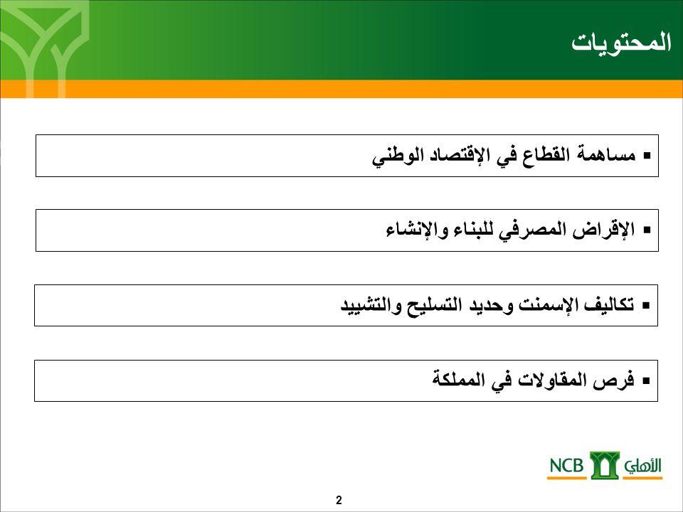 المحتويات  مساهمة القطاع في الإقتصاد الوطني  الإقراض المصرفي للبناء والإنشاء  تكاليف الإسمنت وحديد التسليح والتشييد  فرص المقاولات في المملكة 2