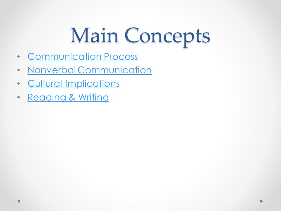 Main Concepts Communication Process Nonverbal Communication Cultural Implications Reading & Writing
