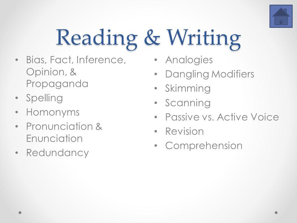 Reading & Writing Analogies Dangling Modifiers Skimming Scanning Passive vs.