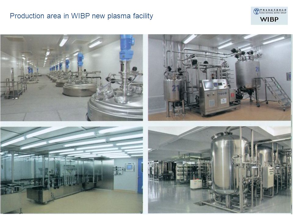Production area in WIBP new plasma facility