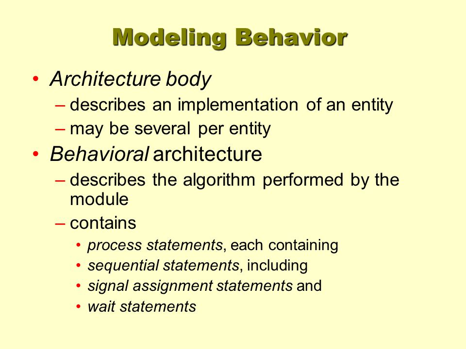 Modeling Behavior Architecture body –describes an implementation of an entity –may be several per entity Behavioral architecture –describes the algori