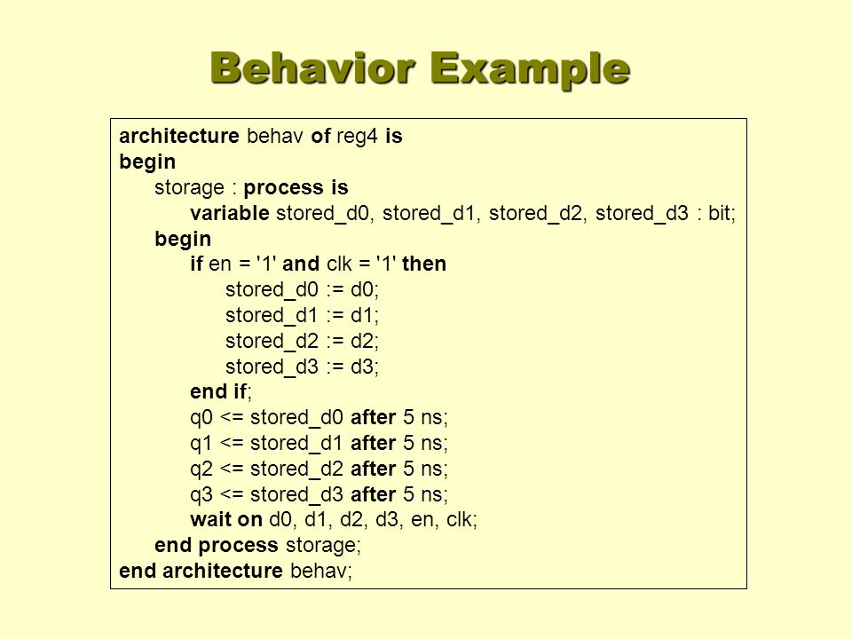 Behavior Example architecture behav of reg4 is begin storage : process is variable stored_d0, stored_d1, stored_d2, stored_d3 : bit; begin if en = '1'