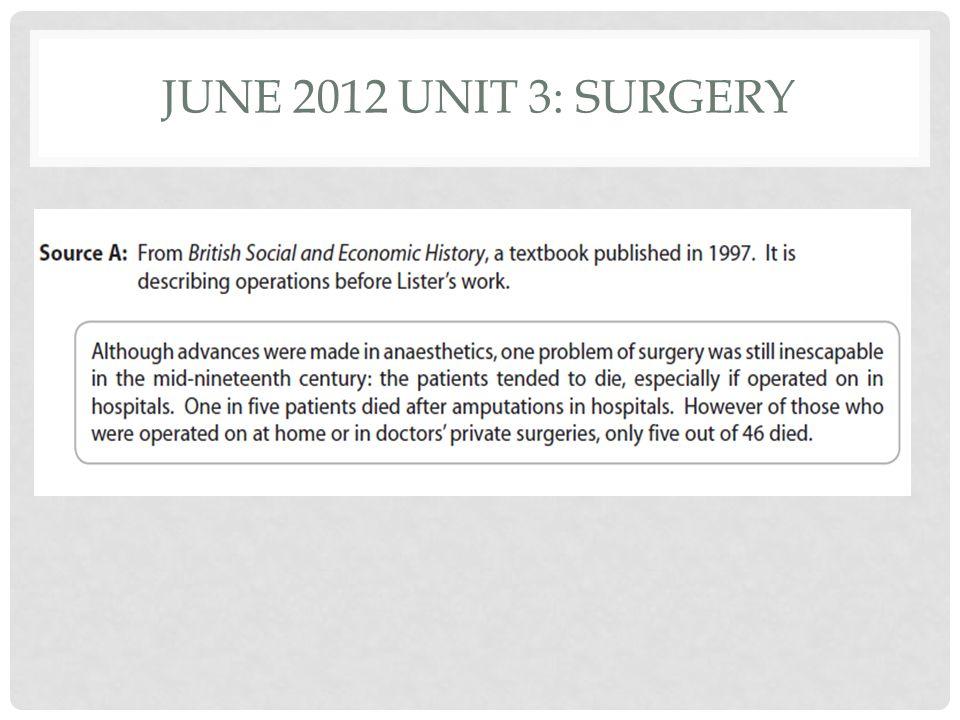 JUNE 2012 UNIT 3: SURGERY