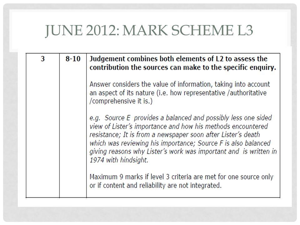 JUNE 2012: MARK SCHEME L3