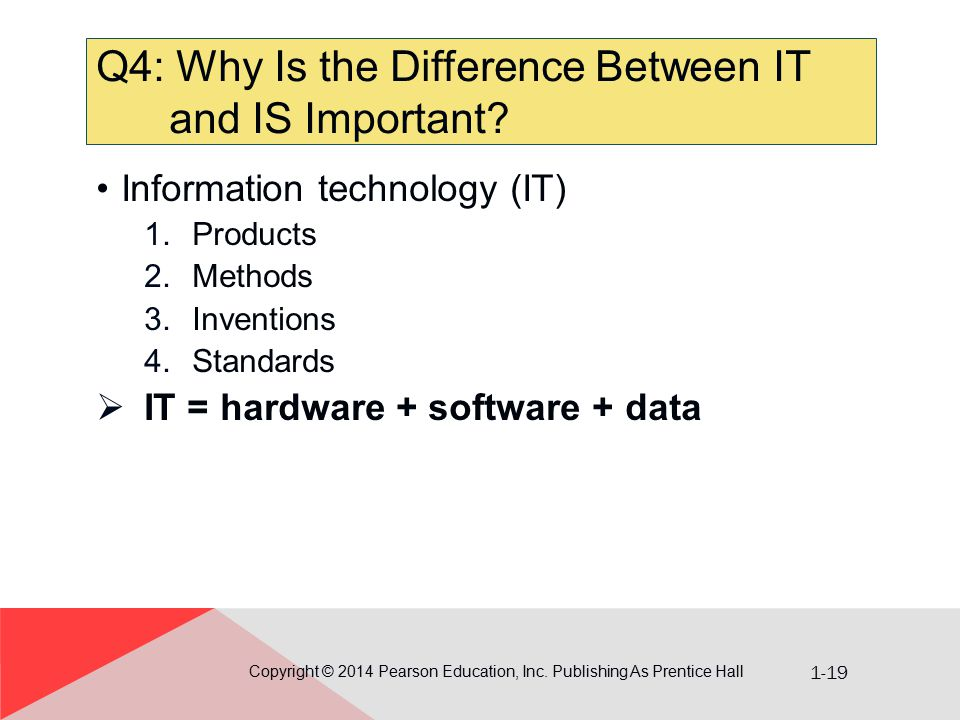 1-19 Q4: Why Is the Difference Between IT and IS Important? Copyright © 2014 Pearson Education, Inc. Publishing As Prentice Hall Information technolog