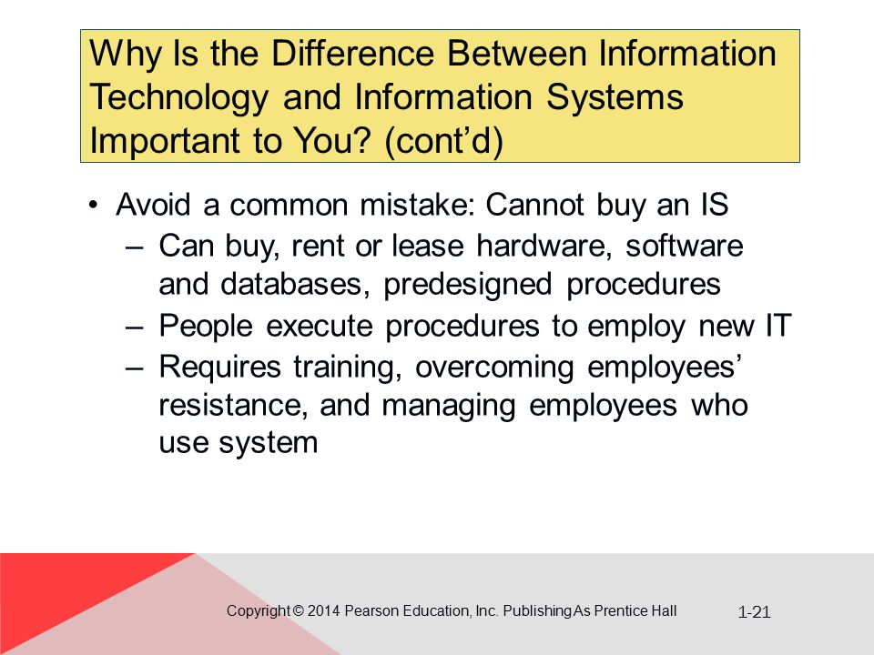 1-21 Why Is the Difference Between Information Technology and Information Systems Important to You? (cont'd) Copyright © 2014 Pearson Education, Inc.