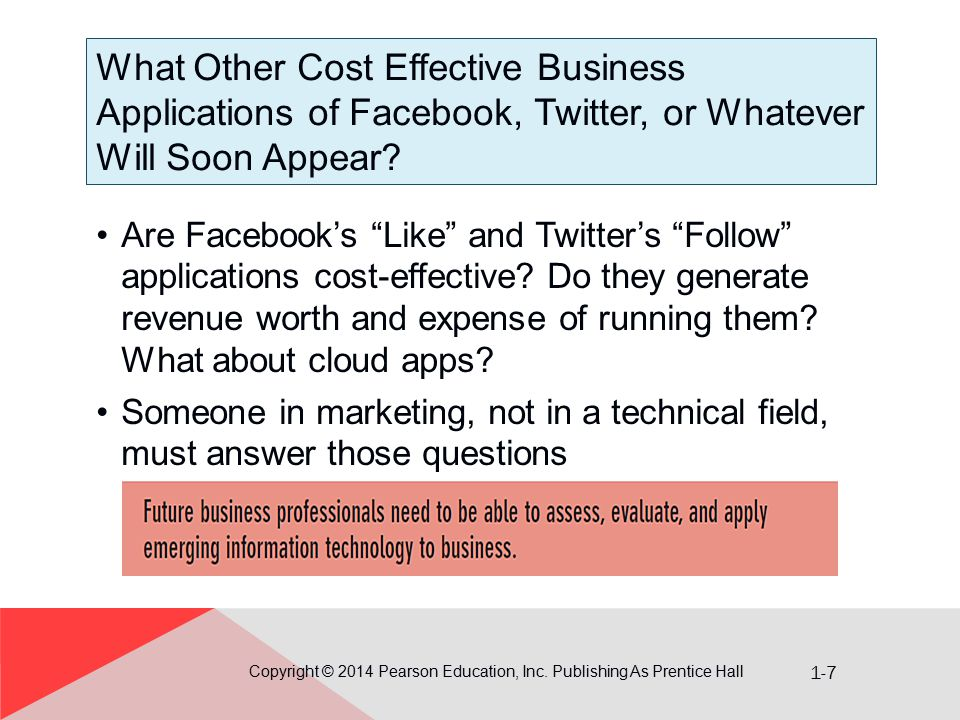 1-7 What Other Cost Effective Business Applications of Facebook, Twitter, or Whatever Will Soon Appear? Copyright © 2014 Pearson Education, Inc. Publi