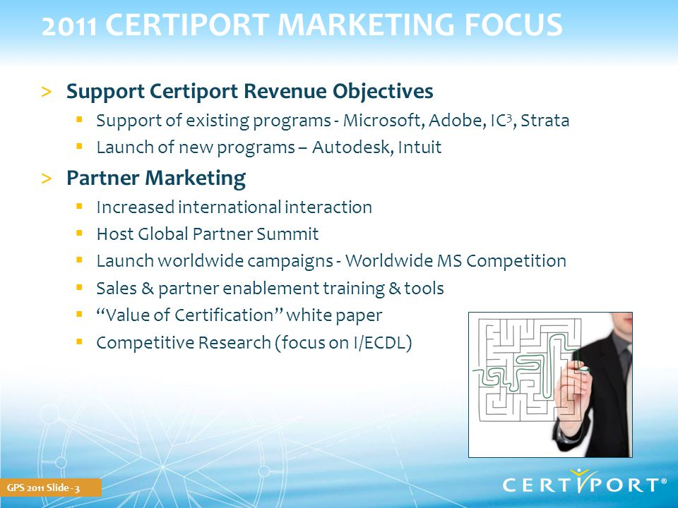 GPS 2011 Slide - 3 2011 CERTIPORT MARKETING FOCUS >Support Certiport Revenue Objectives  Support of existing programs - Microsoft, Adobe, IC 3, Strat