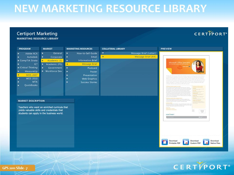 GPS 2011 Slide - 7 NEW MARKETING RESOURCE LIBRARY