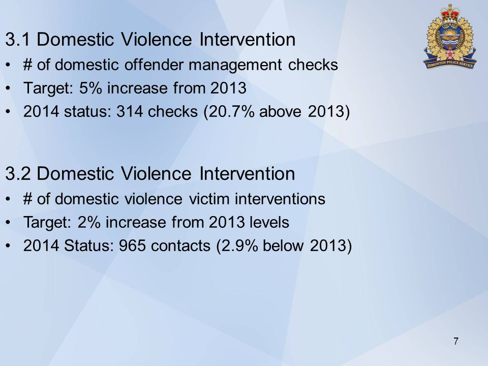 3.1 Domestic Violence Intervention # of domestic offender management checks Target: 5% increase from 2013 2014 status: 314 checks (20.7% above 2013) 7 3.2 Domestic Violence Intervention # of domestic violence victim interventions Target: 2% increase from 2013 levels 2014 Status: 965 contacts (2.9% below 2013)