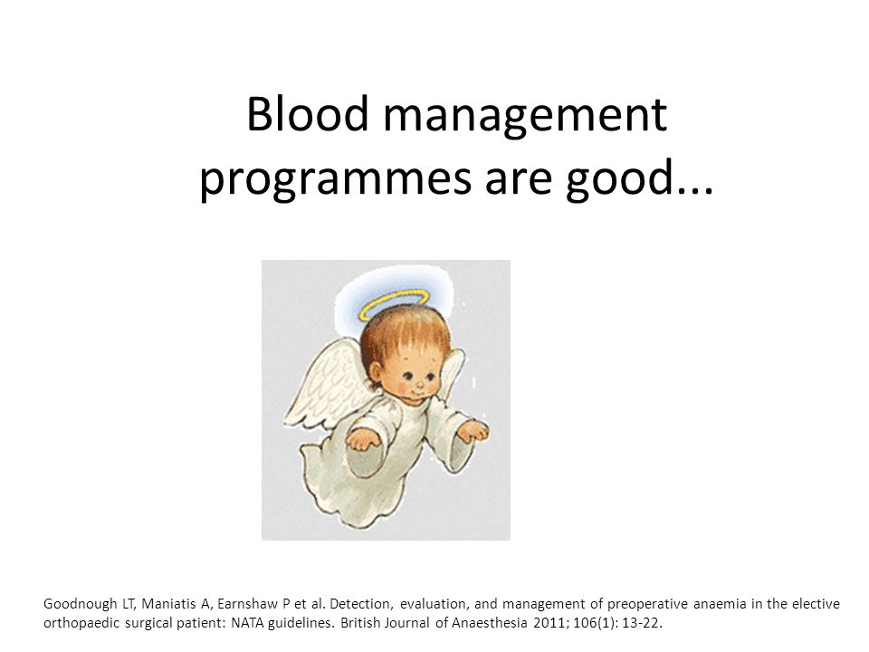 Conclusion Cost savings locally €41,040 Potential cost saving nationally €600,000 LOS reduction of 1-2 days per patient Expansion of the blood management programme could be expanded across hospital specialties Opportunity to develop a National Blood Management Programme