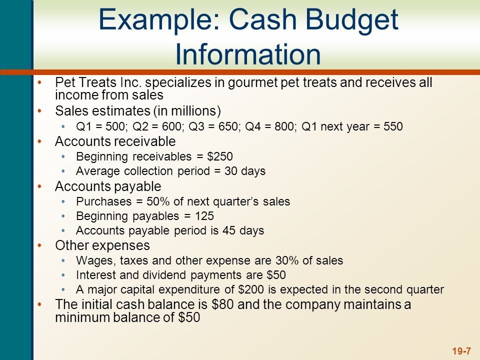 19-8 Example: Cash Budget – Cash Collections ACP = 30 days, this implies that 2/3 of sales are collected in the quarter made and the remaining 1/3 are collected the following quarter Beginning receivables of $250 will be collected in the first quarter Q1Q2Q3Q4 Beginning Receivables250167200217 Sales500600650800 Cash Collections583567633750 Ending Receivables167200217267