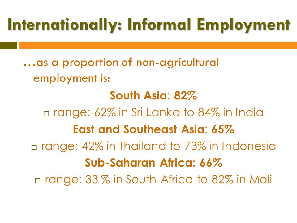 Internationally: Informal Employment …as a proportion of non-agricultural employment is Middle East and North Africa : 45%  range: 31% in Turkey to 57% in West Bank & Gaza Latin America: 51%  range: 40% in Uruguay to 75% in Bolivia Source: International Labour Organization / WIEGO,2013