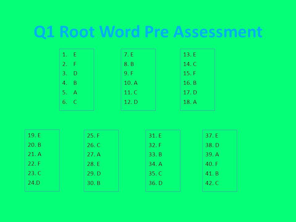 Q1 Root Word Pre Assessment 1.E 2.F 3.D 4.B 5.A 6.C 7. E 8. B 9. F 10. A 11. C 12. D 13. E 14. C 15. F 16. B 17. D 18. A 19. E 20. B 21. A 22. F 23. C