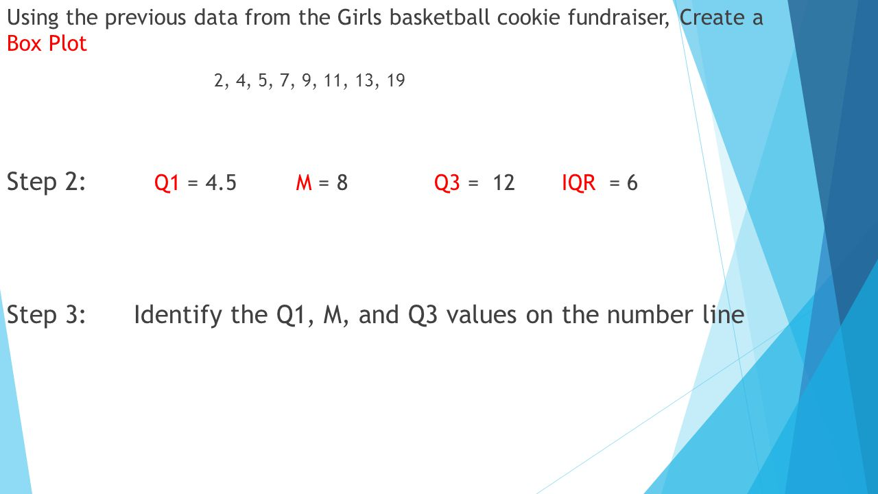 Using the previous data from the Girls basketball cookie fundraiser, Create a Box Plot 2, 4, 5, 7, 9, 11, 13, 19 Step 2: Q1 = 4.5 M = 8 Q3 = 12 IQR = 6 Step 3: Identify the Q1, M, and Q3 values on the number line