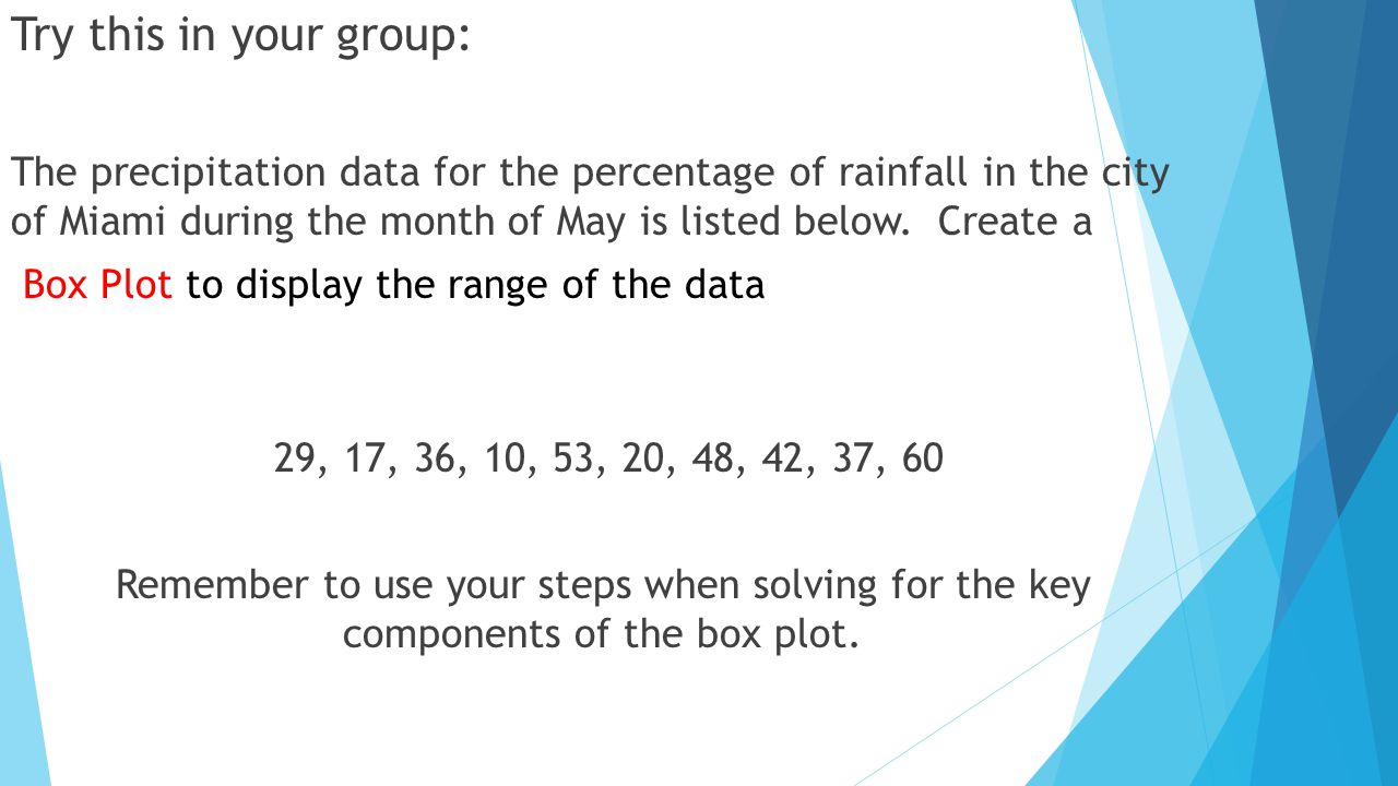Try this in your group: The precipitation data for the percentage of rainfall in the city of Miami during the month of May is listed below.