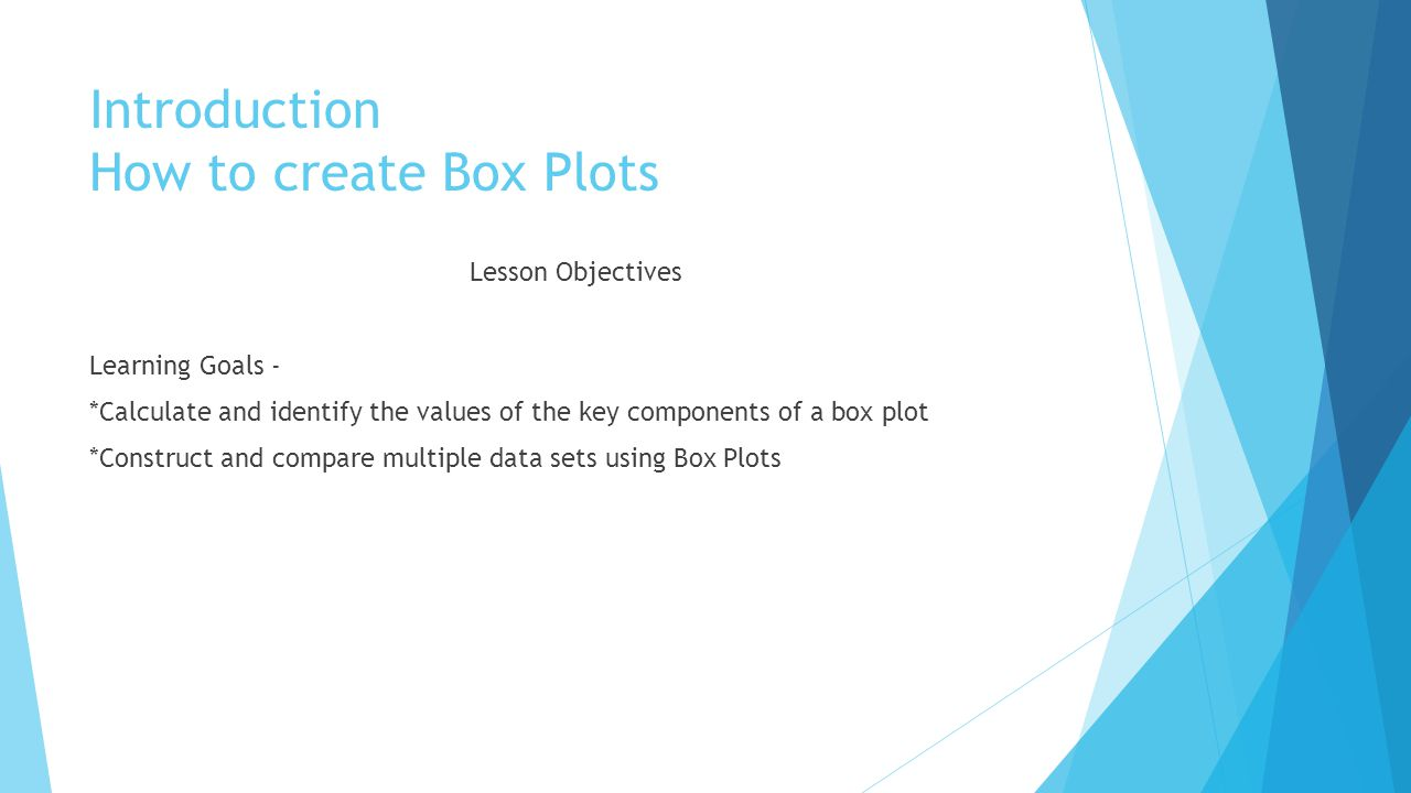 Introduction How to create Box Plots Lesson Objectives Learning Goals - *Calculate and identify the values of the key components of a box plot *Construct and compare multiple data sets using Box Plots