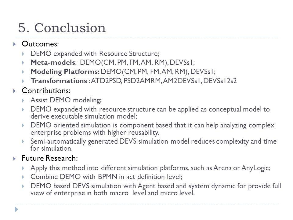 5. Conclusion  Outcomes:  DEMO expanded with Resource Structure;  Meta-models: DEMO(CM, PM, FM, AM, RM), DEVSs1;  Modeling Platforms: DEMO(CM, PM,