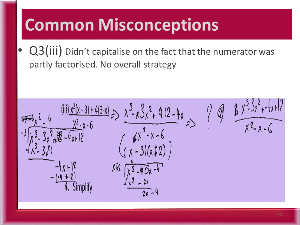 Q3(iii) Didn't capitalise on the fact that the numerator was partly factorised. No overall strategy 30