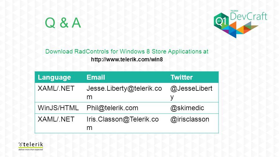 LanguageEmailTwitter XAML/.NETJesse.Liberty@telerik.co m @JesseLibert y WinJS/HTMLPhil@telerik.com@skimedic XAML/.NETIris.Classon@Telerik.co m @iriscl