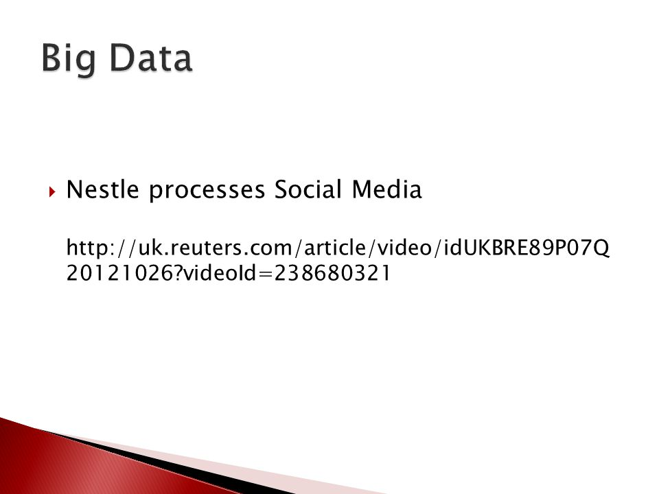  Nestle processes Social Media http://uk.reuters.com/article/video/idUKBRE89P07Q 20121026?videoId=238680321
