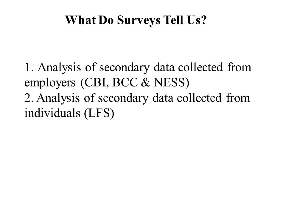 What Do Surveys Tell Us. 1.