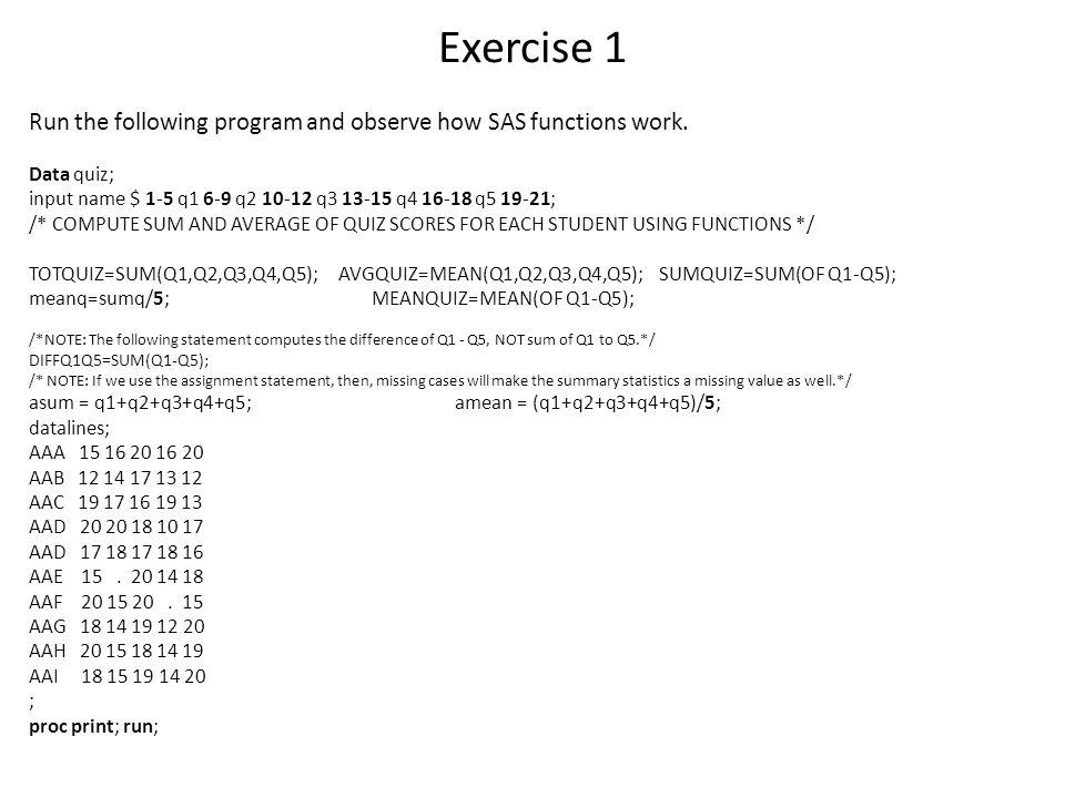 Examples of modifying numeric values Data valueINTROUND(value,.1)CEILFLOOR 1.25911.321 -1.259-1.3-2 20.9342020.92120 -20.934-20-20.9-20-21