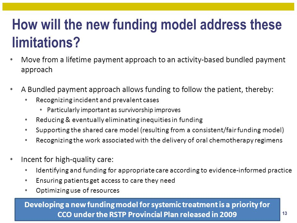 How will the new funding model address these limitations? Move from a lifetime payment approach to an activity-based bundled payment approach A Bundle