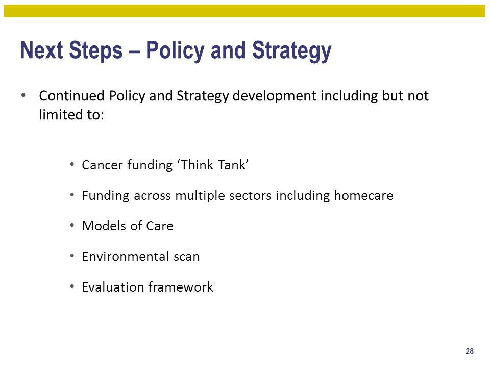 Next Steps – Policy and Strategy Continued Policy and Strategy development including but not limited to: Cancer funding 'Think Tank' Funding across mu