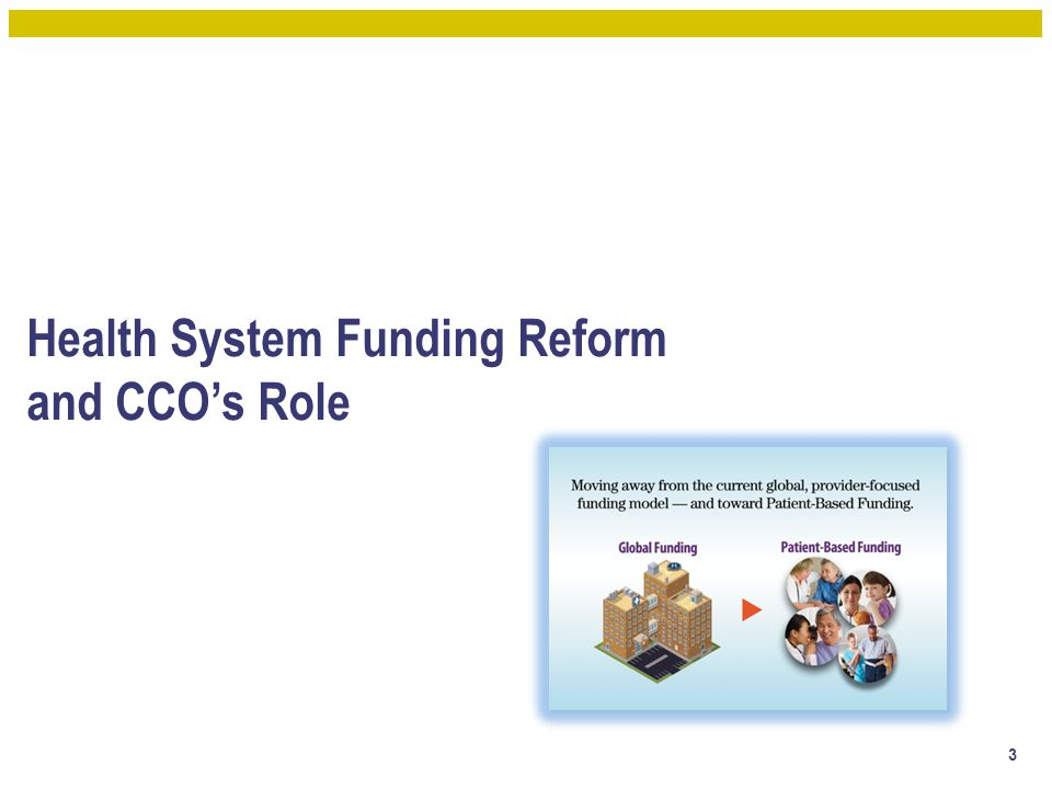 Health System Funding Reform and CCO's Role 3