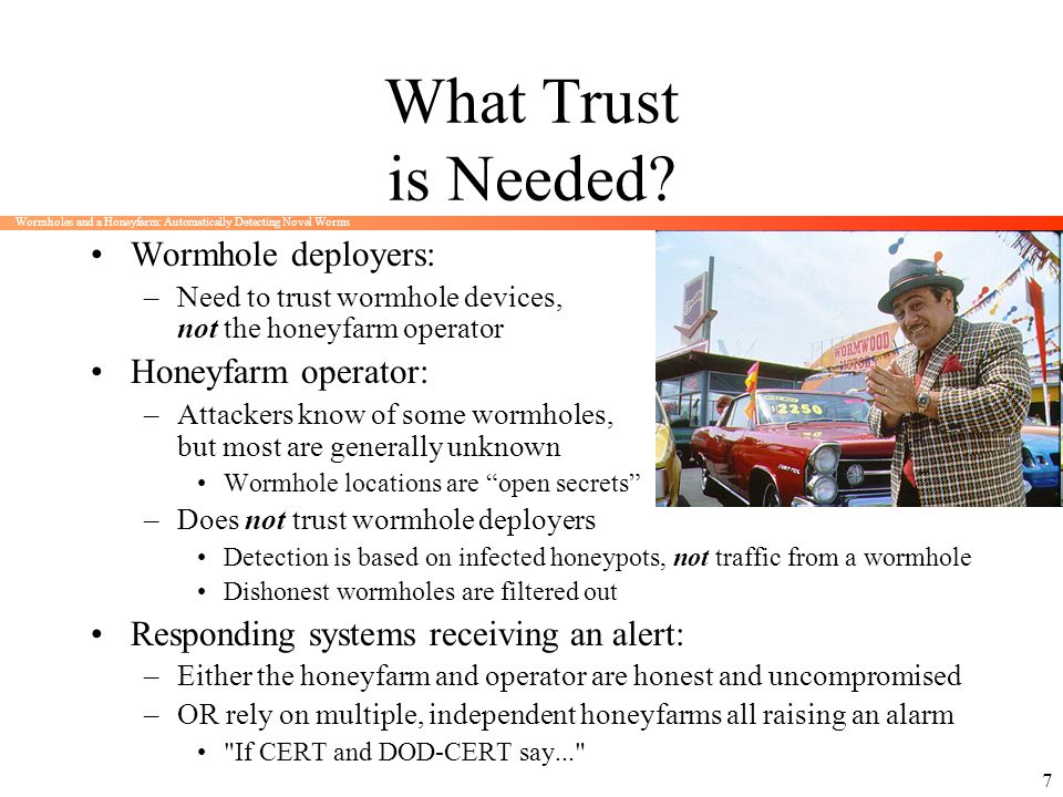 Wormholes and a Honeyfarm: Automatically Detecting Novel Worms 7 What Trust is Needed? Wormhole deployers: –Need to trust wormhole devices, not the ho