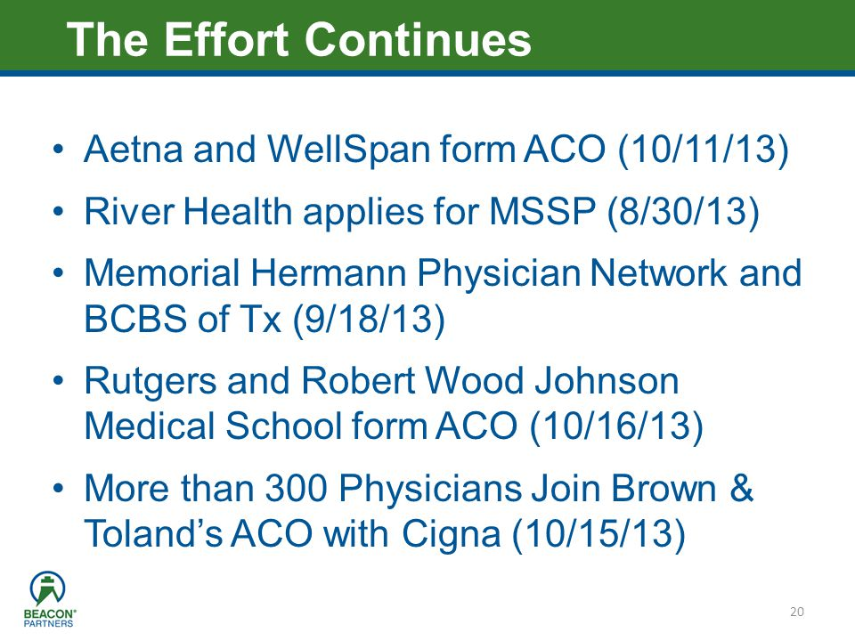 Heading – Ariel 40 Aetna and WellSpan form ACO (10/11/13) River Health applies for MSSP (8/30/13) Memorial Hermann Physician Network and BCBS of Tx (9