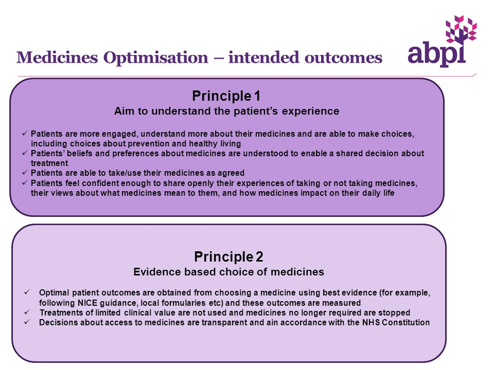 Medicines Optimisation – intended outcomes Principle 1 Aim to understand the patient's experience Patients are more engaged, understand more about their medicines and are able to make choices, including choices about prevention and healthy living Patients' beliefs and preferences about medicines are understood to enable a shared decision about treatment Patients are able to take/use their medicines as agreed Patients feel confident enough to share openly their experiences of taking or not taking medicines, their views about what medicines mean to them, and how medicines impact on their daily life Principle 2 Evidence based choice of medicines Optimal patient outcomes are obtained from choosing a medicine using best evidence (for example, following NICE guidance, local formularies etc) and these outcomes are measured Treatments of limited clinical value are not used and medicines no longer required are stopped Decisions about access to medicines are transparent and ain accordance with the NHS Constitution