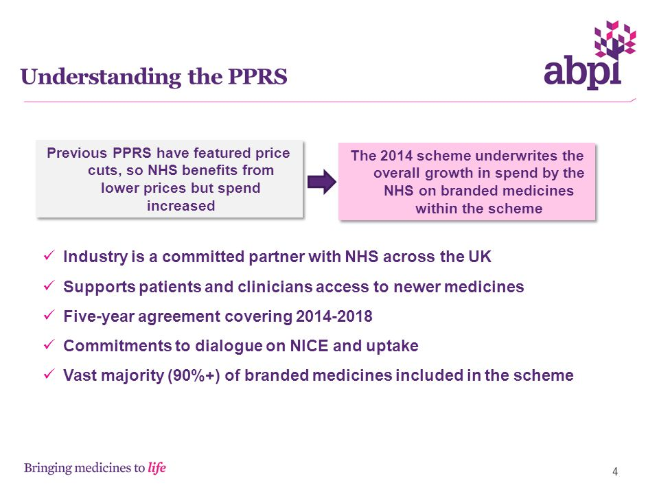 Previous PPRS have featured price cuts, so NHS benefits from lower prices but spend increased The 2014 scheme underwrites the overall growth in spend by the NHS on branded medicines within the scheme Industry is a committed partner with NHS across the UK Supports patients and clinicians access to newer medicines Five-year agreement covering 2014-2018 Commitments to dialogue on NICE and uptake Vast majority (90%+) of branded medicines included in the scheme Understanding the PPRS 4