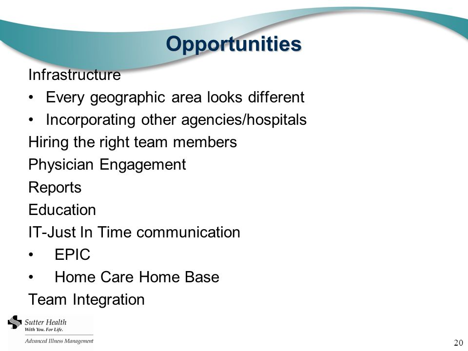Opportunities Infrastructure Every geographic area looks different Incorporating other agencies/hospitals Hiring the right team members Physician Engagement Reports Education IT-Just In Time communication EPIC Home Care Home Base Team Integration 20