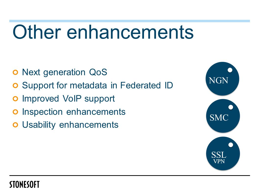 Other enhancements Next generation QoS Support for metadata in Federated ID Improved VoIP support Inspection enhancements Usability enhancements SMC NGN SSL VPN