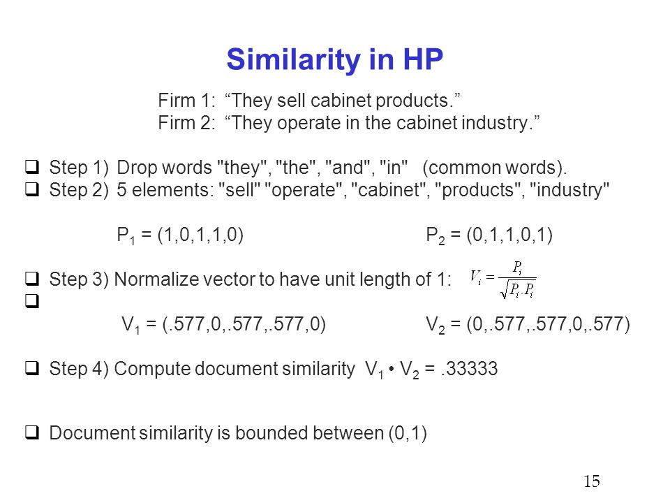 Similarity in HP Firm 1: They sell cabinet products. Firm 2: They operate in the cabinet industry.  Step 1) Drop words they , the , and , in (common words).
