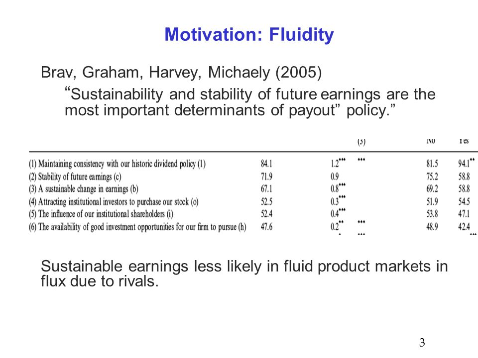 Motivation: Fluidity Brav, Graham, Harvey, Michaely (2005) Sustainability and stability of future earnings are the most important determinants of payout policy. Sustainable earnings less likely in fluid product markets in flux due to rivals.
