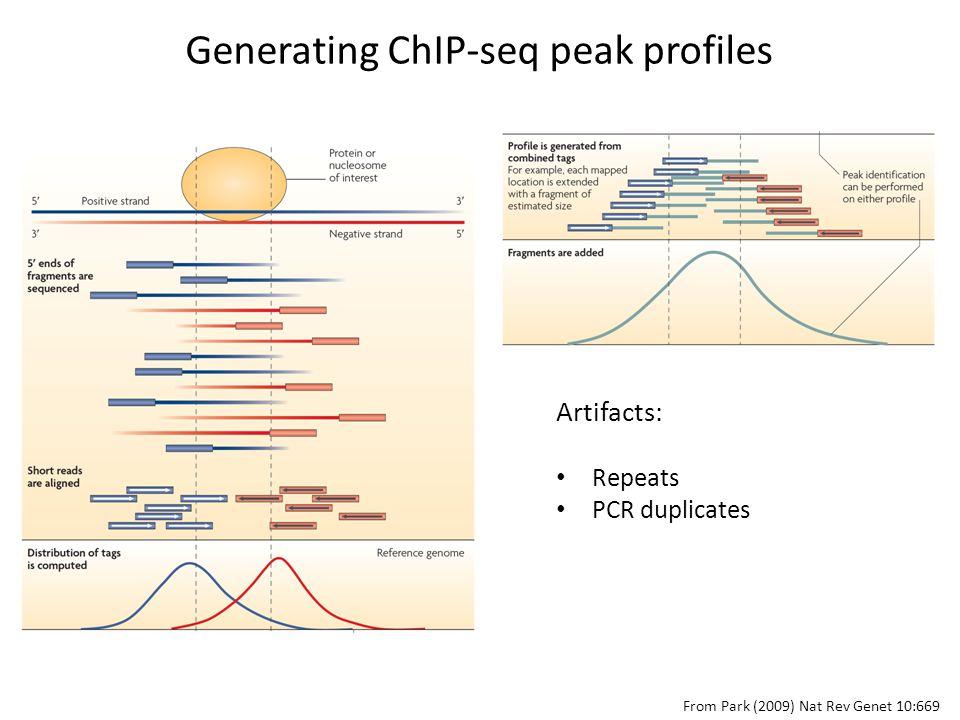 From Park (2009) Nat Rev Genet 10:669 Generating ChIP-seq peak profiles Artifacts: Repeats PCR duplicates